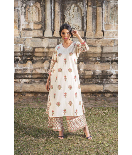 Off White hand block Cotton Flax Kurta Set