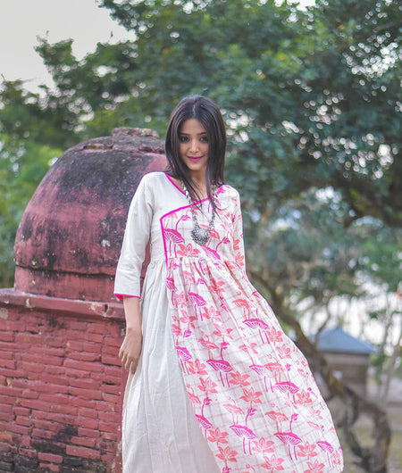 Off White hand block Cotton Flax Long Kurta