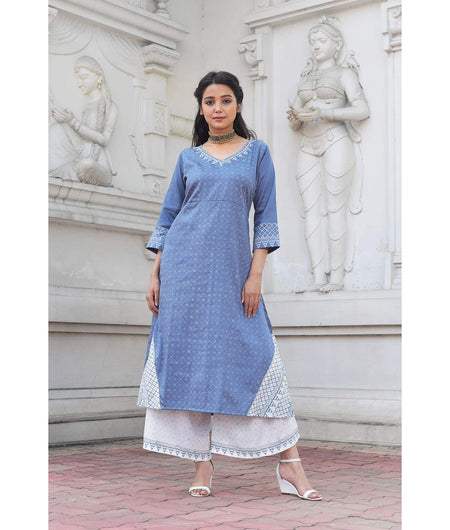Blue hand block Cotton Satin Kurta Set