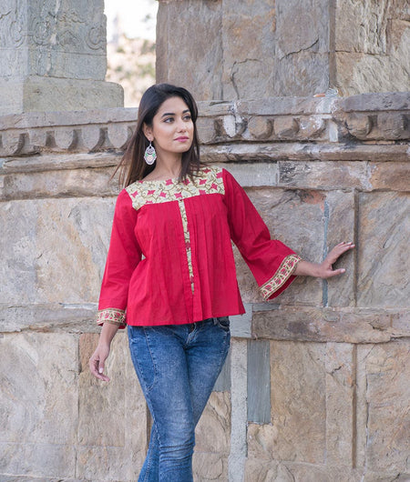 Red hand block Print Cambric Layered Top