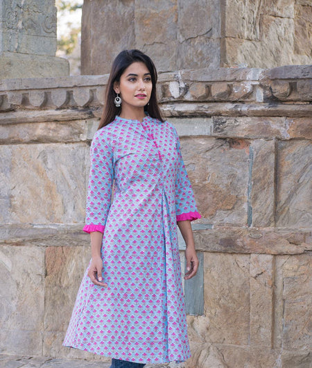 Blue hand block Print Cambric Sundress Kurta