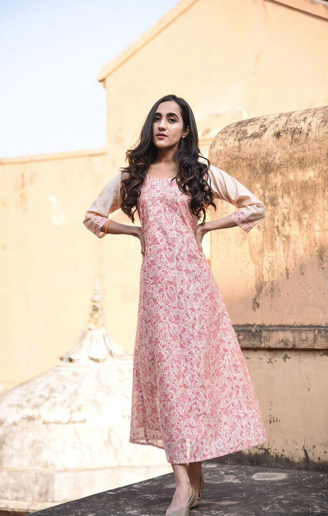 Peach Hand Block Chanderi Dress