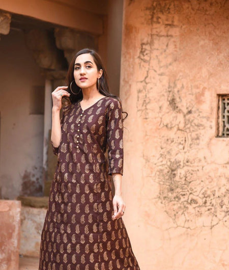 Brown Hand Block Chanderi Kurta