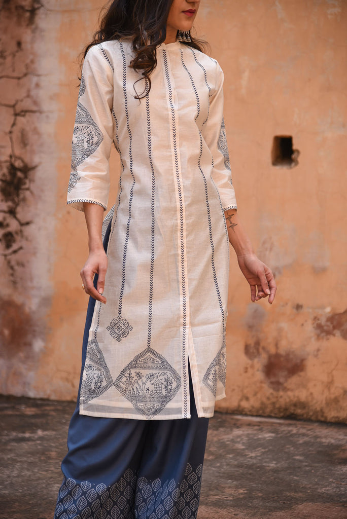 White Hand Block A-Line Tribal Print Chanderi Kurta