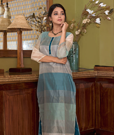 Handloom Turquoise Blue Regular Chanderi Kurta