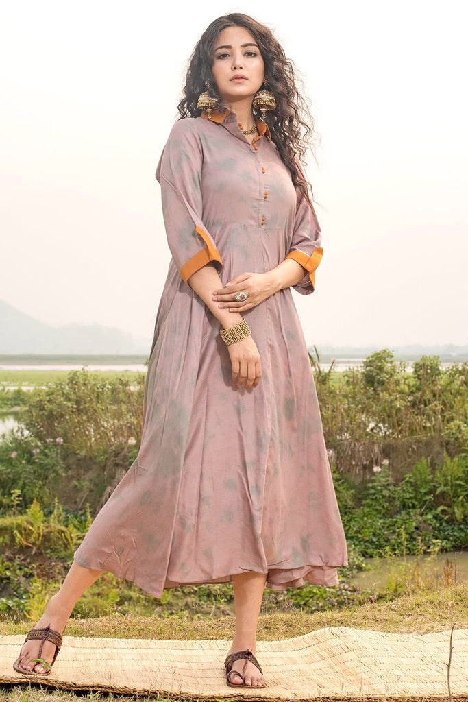 Shibori Grey Melange Modal Dress