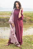 Shibori Plum Rayon Kurta Pant Set With Dupatta