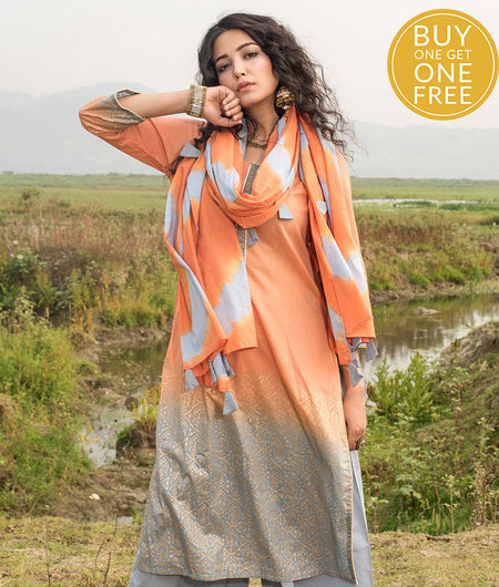 Ombre Orange Modal Kurta Pant Set With Dupatta