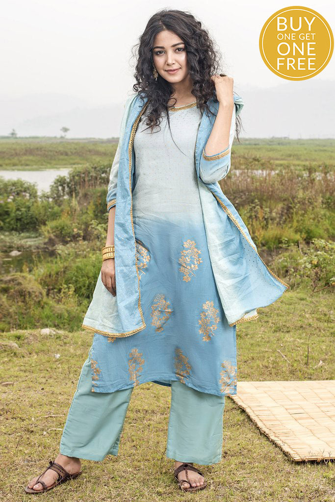 Ombre Blue Modal Kurta Palazzo Set With Dupatta