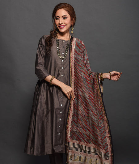 Hand Block Brown Chanderi Kurta Set