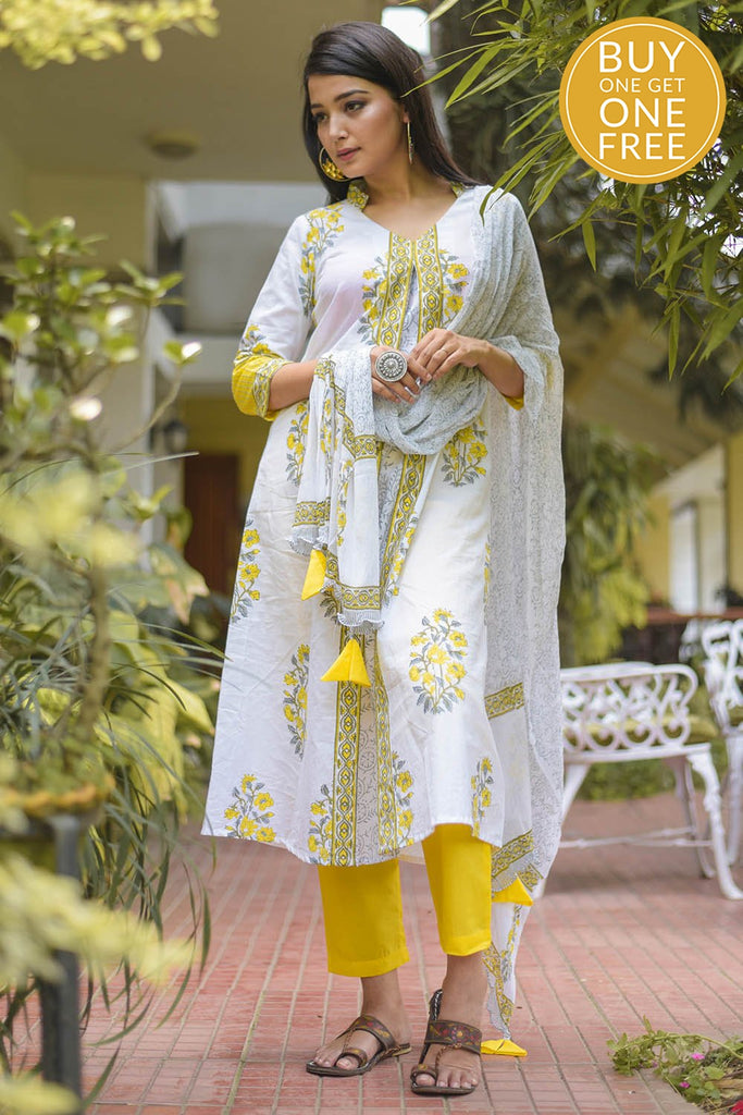 Hand Block White Cambric Kurta Palazzo And Dupatta Set