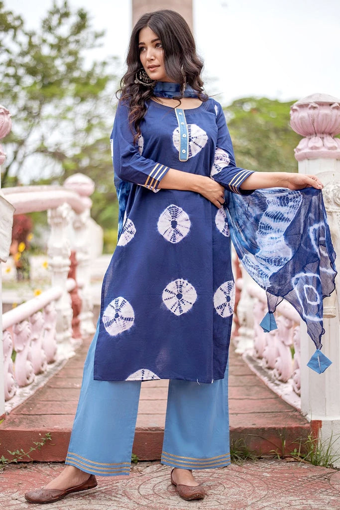 Hand Block Navy Blue Cambric Kurta Palazzo And Dupatta Set