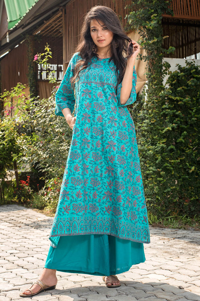 Hand Block Tourquise Cotton Silk Kurta Palazzo Set