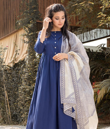 Hand Block Blue Cambric Kurta Palazzo And Dupatta Set