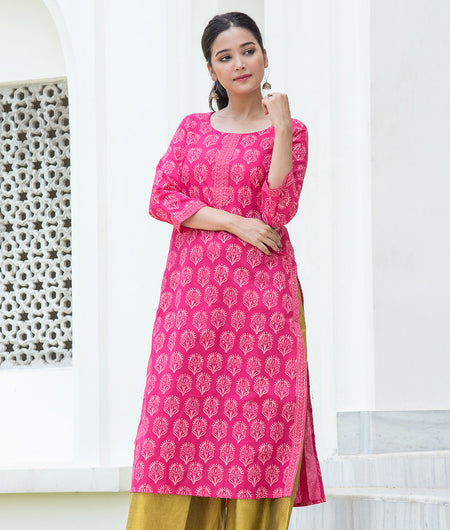 Hand Block Peach Cambric Kurta