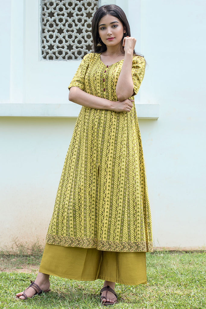 Hand Block Bright Yellow Rayon Kurta