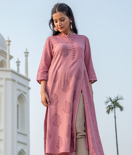 Hand Block Pink Cotton Flex Kurta