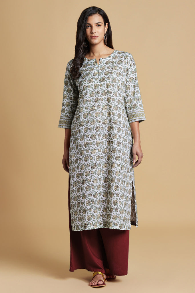 Hand Block Brown And Cream Cotton Kurta