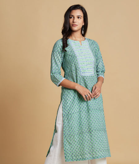 Hand Block Mint Green Cotton Kurta