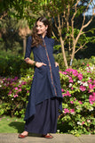 Ajrakh navy blue cotton linen Kurta