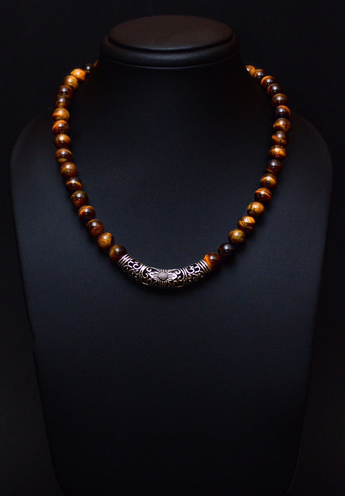 Tiger Eye with Silver Centrepiece Necklace