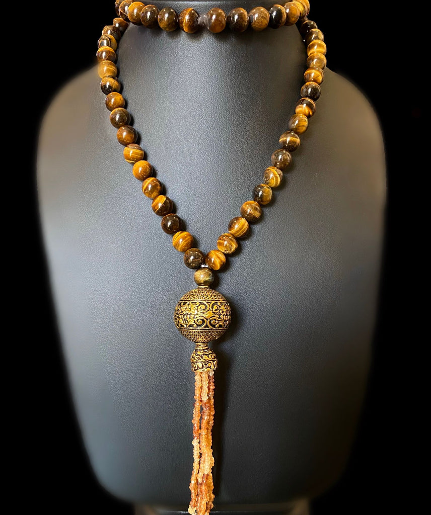 Tiger Eye and Citrine Long Necklace