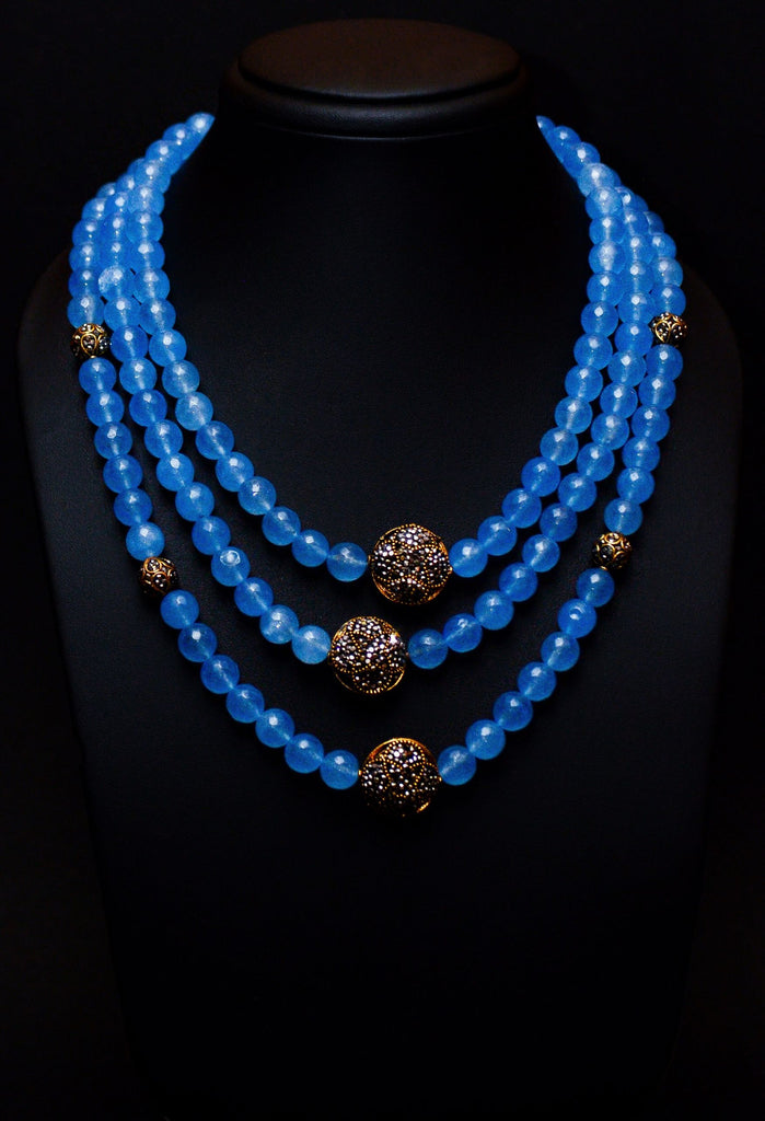 Statement Turquoise Necklace with Crystal Accessories