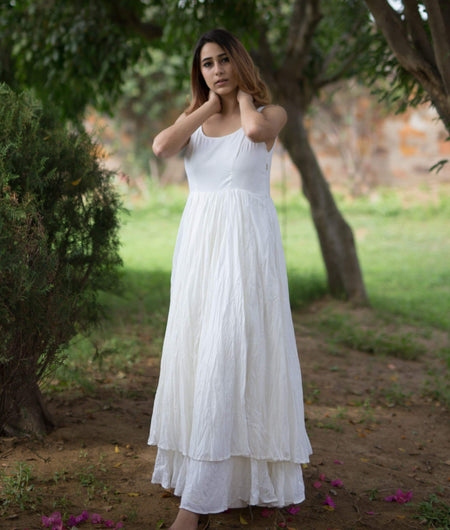 organic cotton off white and lime Double Layer kurta