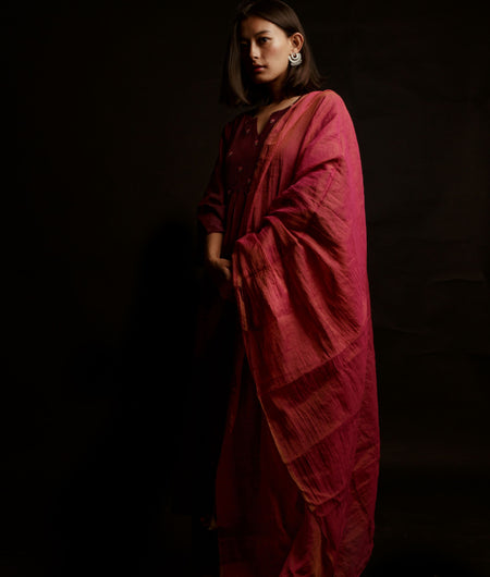 Handwoven Wine Cotton Silk Kurta Pant Dupatta Set