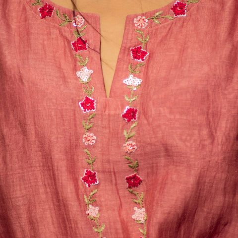 Handwoven Old Rose Mul Chanderi Kurta Pant Dupatta Set