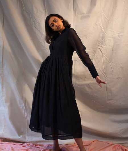 Handwoven Black Chanderi Dress