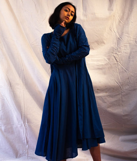Handwoven Royal Blue Organic Cotton Dress