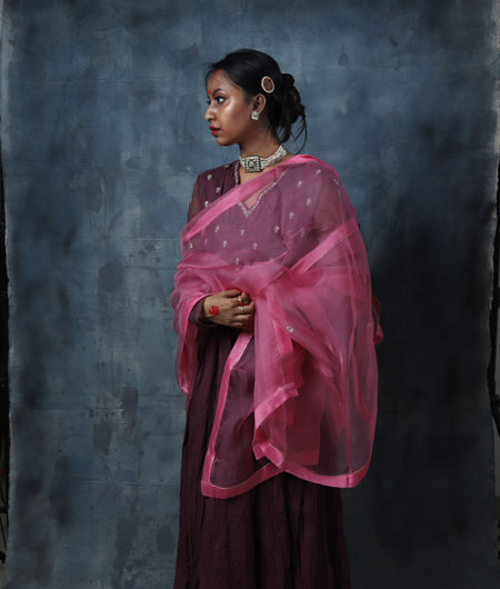 Handwoven Wine and Buble Pink Cotton Kurta Pant and Dupatta Set