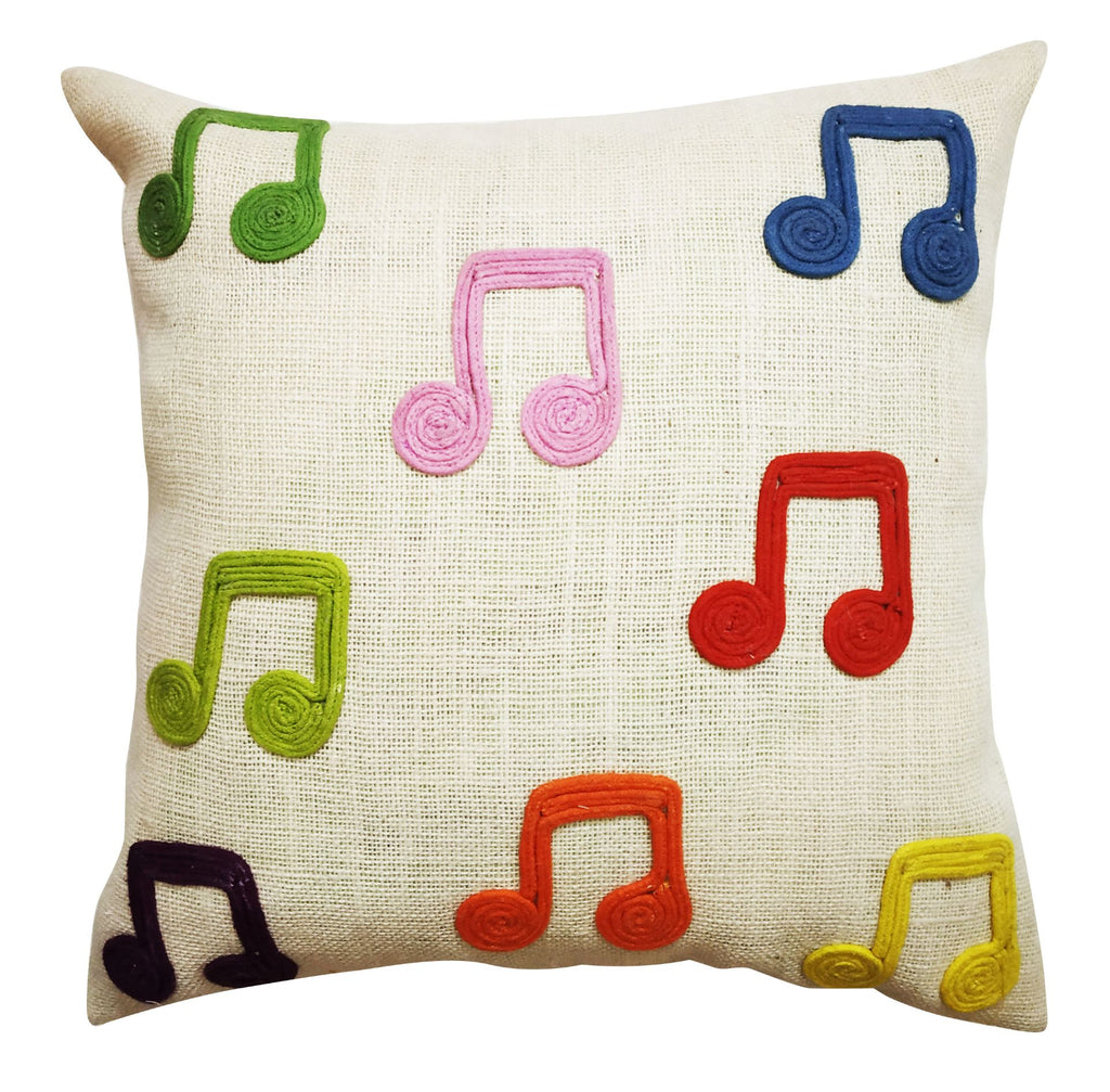 Handmade Cotton Musical Note Cushion Cover