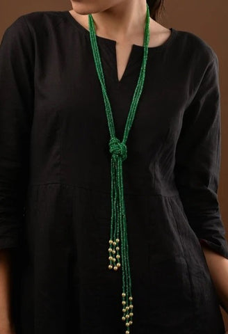 Green Crystal and Pearl Adjsutable Knot Necklace