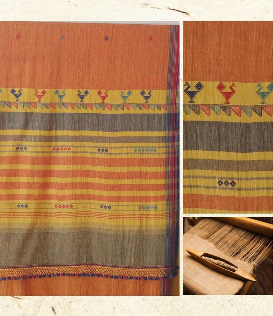 Handloom oragnic cotton woven burnt orrange Saree