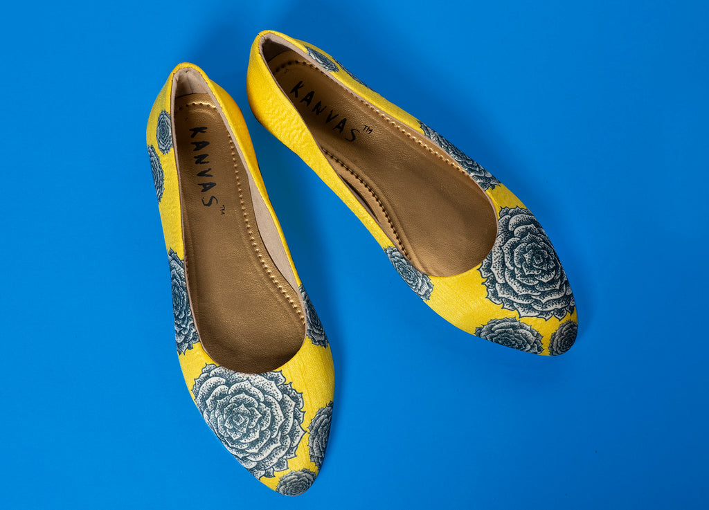 Yellow Rose Pointed Ballerina Shoes