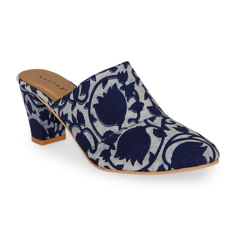 Blue Kalamkari Floral Print Block Heels For Women
