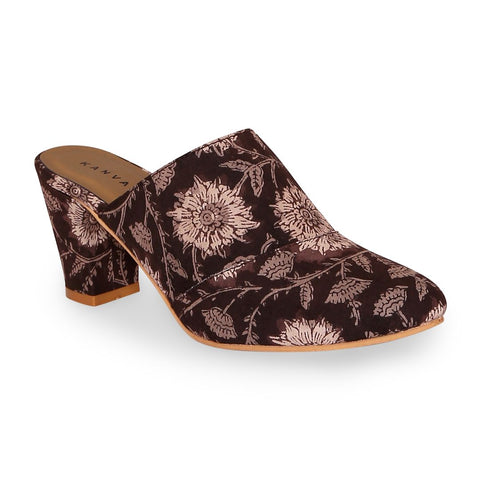 Brown Kalamkari Print Block Heels For Women