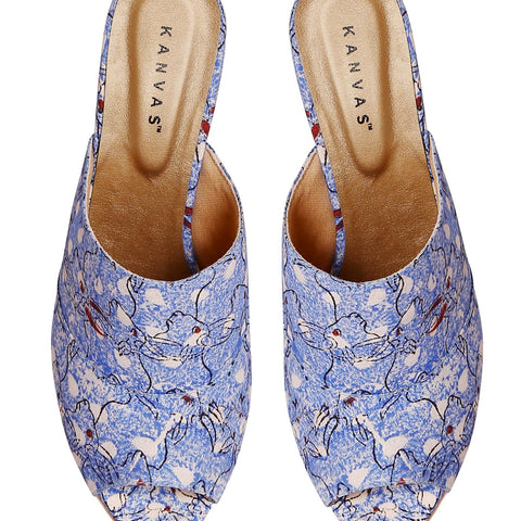 Kalamkari Ox Print Block Heels For Women
