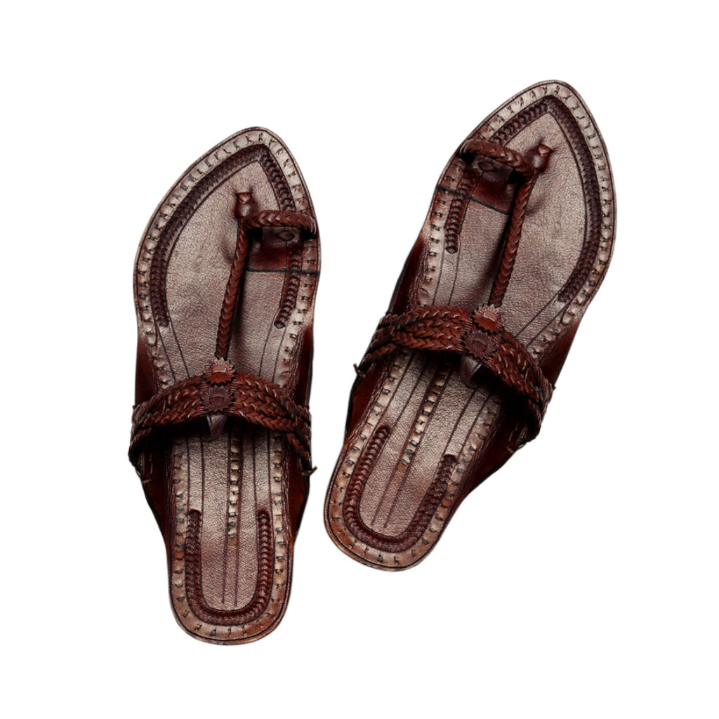 Women Hand Crafted Brown Kolhapuri Chappal