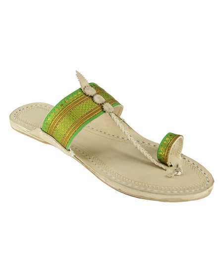 Women Hand Crafted Green Kolhapuri Chappal
