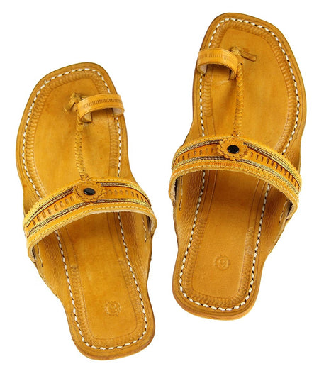 Women Hand Crafted Yellow Kolhapuri Chappal
