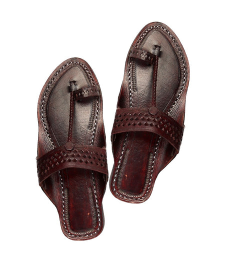 Hand Crafted Brown Kolhapuri Chappal For Women