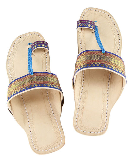 Hand Crafted Blue Kolhapuri Chappal For Women
