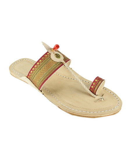 Hand Crafted Maroon Kolhapuri Chappal For Women