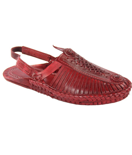 Women Hand Crafted Cherry Red Kolhapuri Chappal