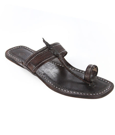 Hand Crafted Dark Brown Kolhapuri Chappal For Women