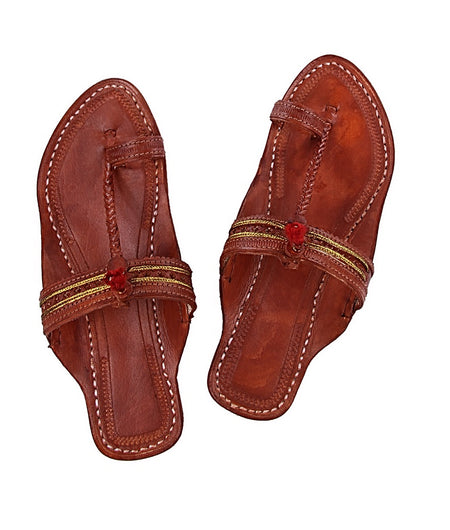 Hand Crafted Red Brown Kolhapuri Chappal For Women