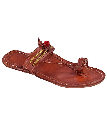 Women Hand Crafted Red Brown Kolhapuri Chappal
